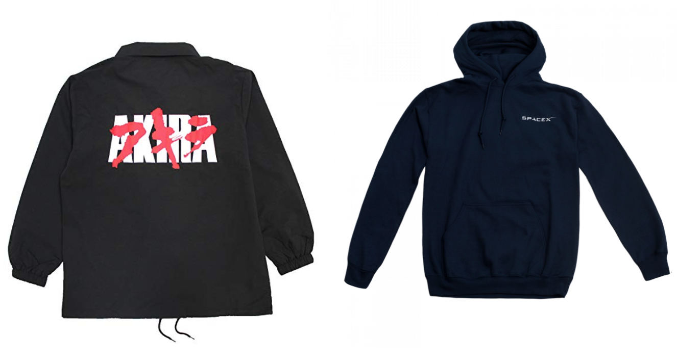 akira jacket and spacex hoodie